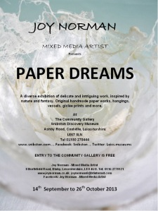 Paper dreams 2013 Snibston A5 advert for printing